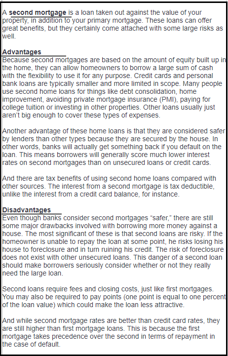 DC Fawcett advantages and disadvantages of second mortgage